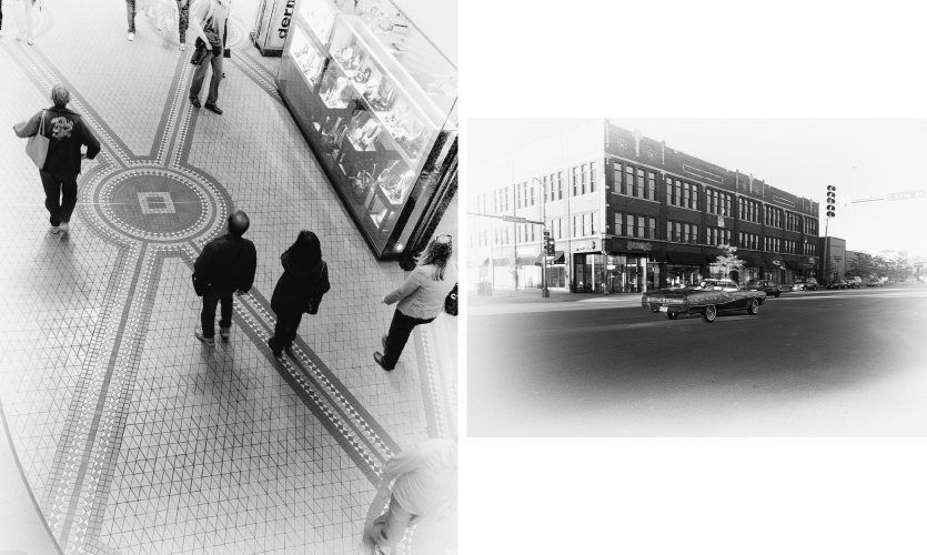 Urban Diary Excerpt No. 5 Figures (L-R) 1.12, 1.13 (images: people walking across tiled floor, photo of building with car)