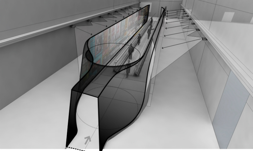 With Keenen/Riley for the MOCA Hangzhou Museum, Sensing Places designed an immersive moving walkway experience that gives visitors the impression of walking on the world's grand avenues such as the Champs Elysees or 5th Avenue. Responsive video characters engage with visitors along the way.