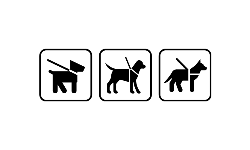 "Left to right: NPS ""Pets on Leash,"" Des Moines International Airport ""Service Animal/Pet"" and Ultimate Symbol ""Service Animal/Pet Relief Area"""