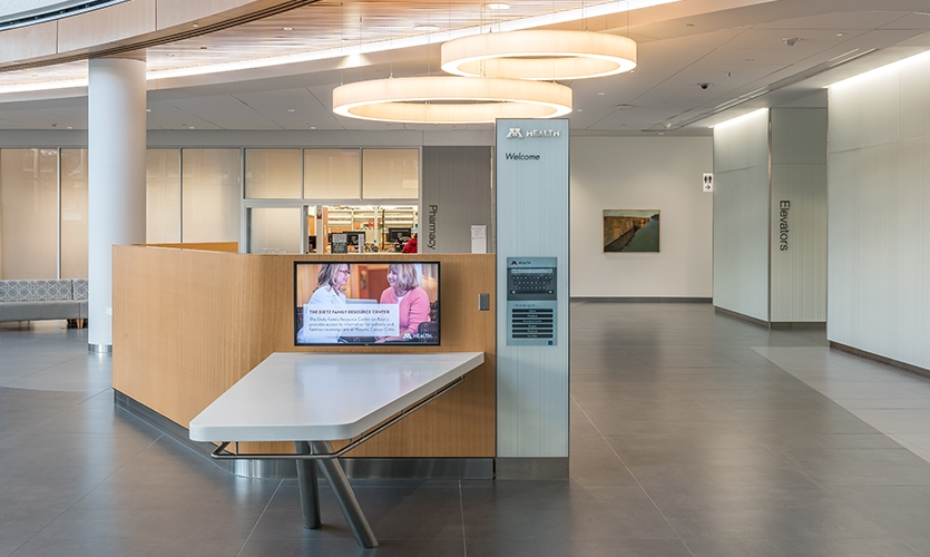 These monitors also allow directional signage and directories to be updated easily to reflect changes to the layout of the facility as it adapts to new programs.