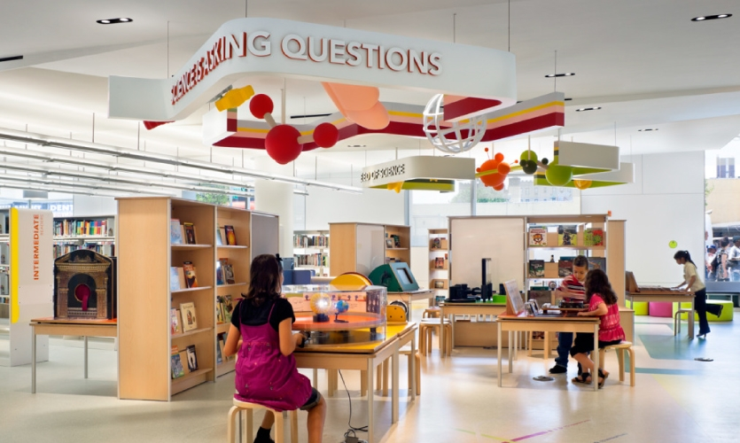 "Interactive ""Science Plaza"", Children's Library Discovery Center, Queens Library [Photo: Michael Moran]"