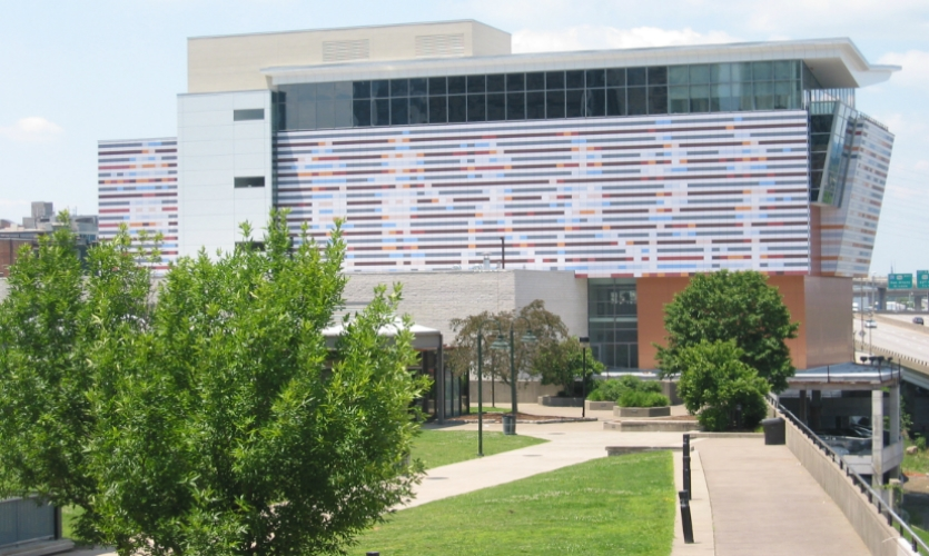 The finished building integrates dynamic graphic imagery inspired by Ali.