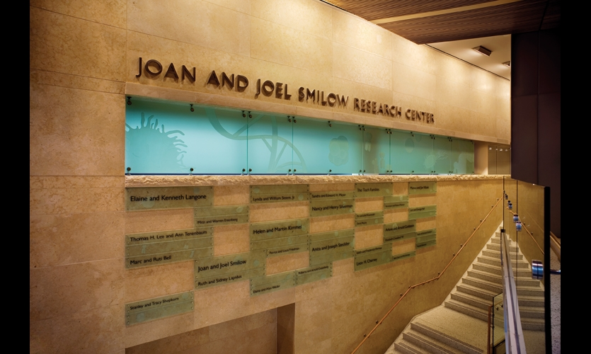 The donor recognition system at New York University's Smilow Research Center features a 4- by 32-ft. backlit frieze with overscaled microscopic images etched onto the first surface of point-supported, tempered glass.