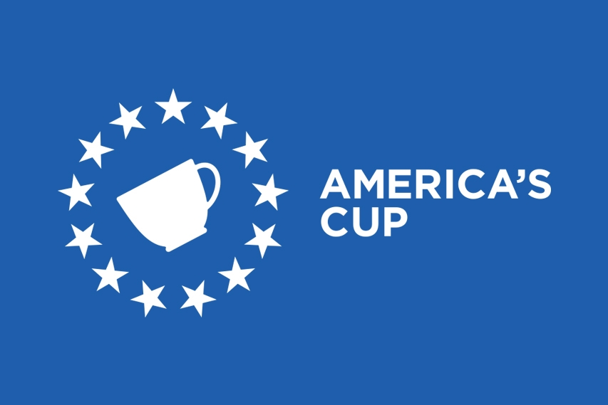 The America's Cup (logo) is inspired by it's namesake and famous sailing race founded by the Stevens family.