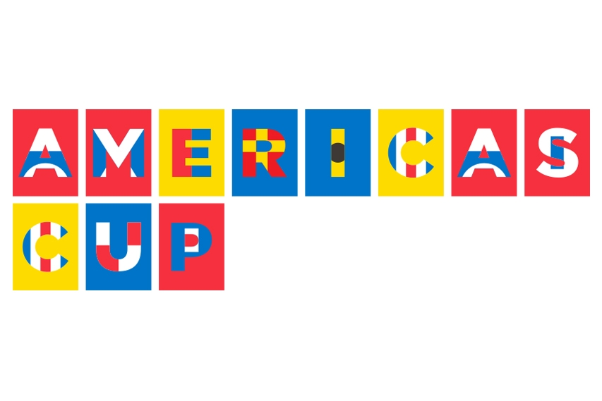 "Maritime signal flags form the letters of ""Americas Cup"" in the official university typeface Trade Gothic."