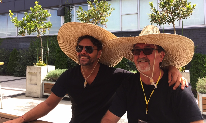SEGD Australia members Stephen Minning and Bryce Tolliday sharing a fun moment at lunch