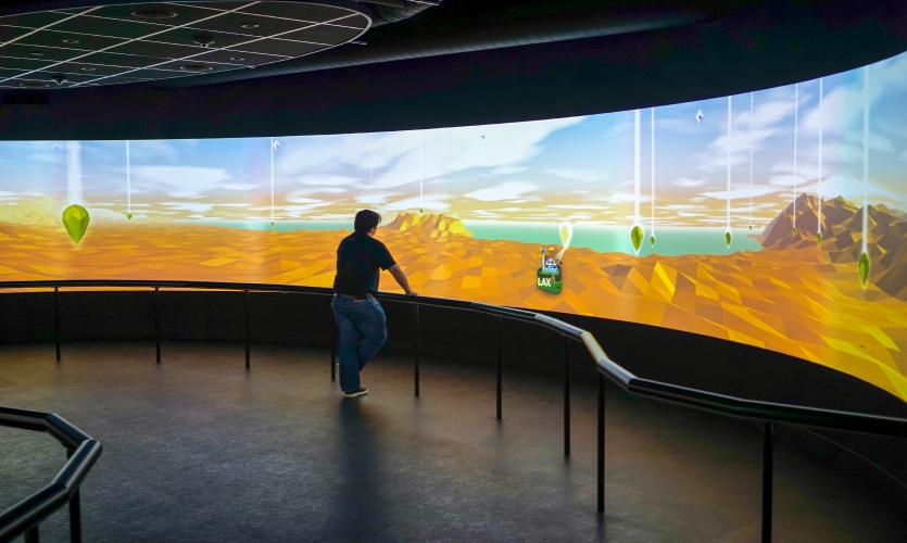 The 360 Landscape is a 50' x 30' interactive projection-mapped ellipsoid space.