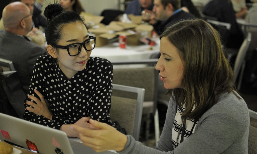 Portfolio reviews were held over lunch during the Young Designer's Summit