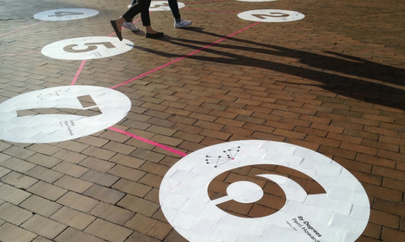 In Red Square, the large bricked plaza that sits at the heart of campus, the master map was rendered at massive scale as a temporary floor graphic.
