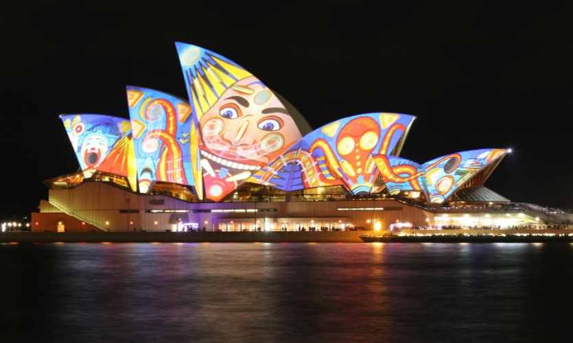 Sydney is one of many cities that recognize the power of digital technology, lighting, and art to activate public spaces. As part of its annual Vivid Sydney festival, the sails on the Jørn Utzon-designed Sydney Opera House become canvases for color and light.