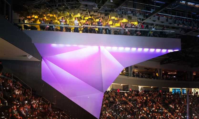Branded clubs rise high above the floor providing an altogether different arena experience.