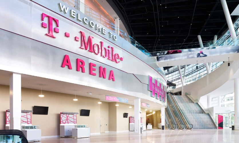 The wayfinding and signage for T-Mobile Arena was designed by Selbert Perkins Design.