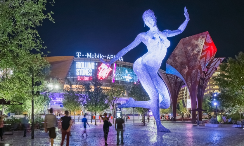 """The park area features a sculpture by Artist Marco Cochrane called """"Bliss Dance."""""""