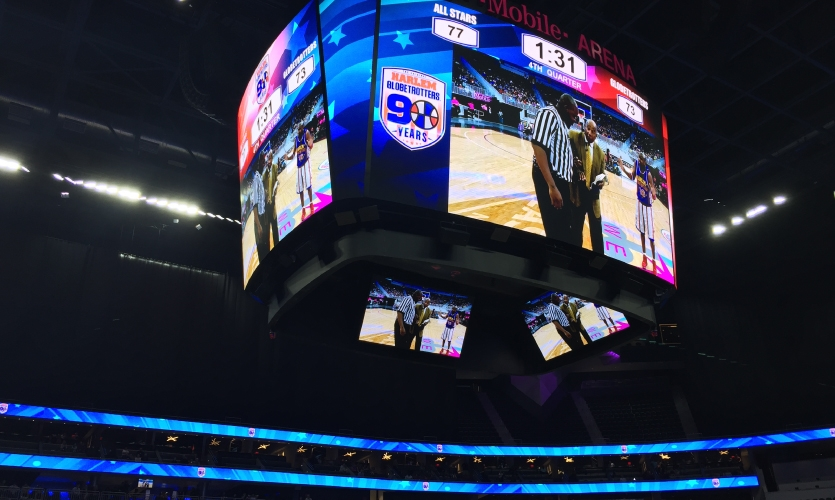 Among the numerous digital displays, the centerhung stands out, with the largest sides measuring 36 feet wide and 21 feet high.