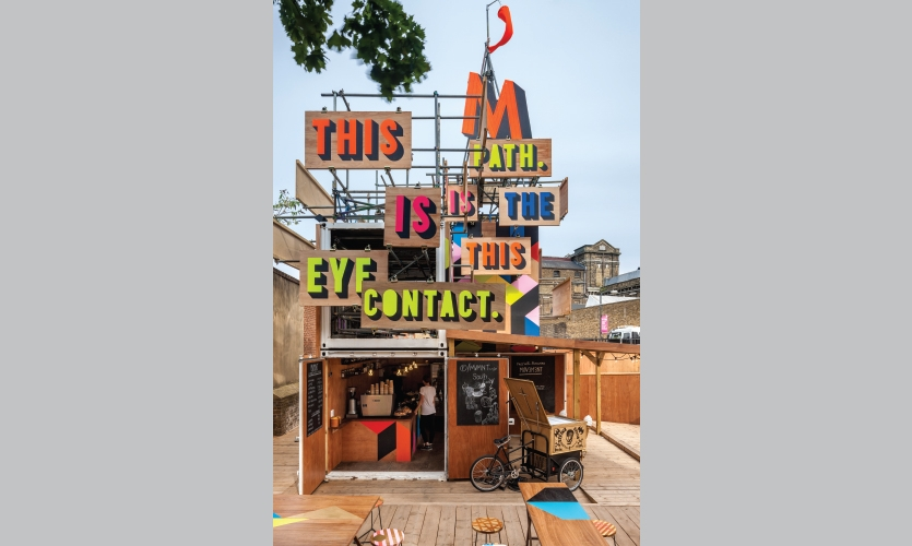 From Archigraphia Redux: The Movement Café; London, United Kingdom; Designers: Morag Myerscough with Luke Morgan; Client: Cathedral Group