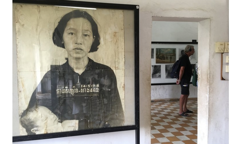 "Tuol Sleng and Choeung Ek: Tuol Sleng Genocide Museum, aka ""S21,"" is on the site of a high school used by the Khmer Rouge as a secret security prison from 1975–1979."