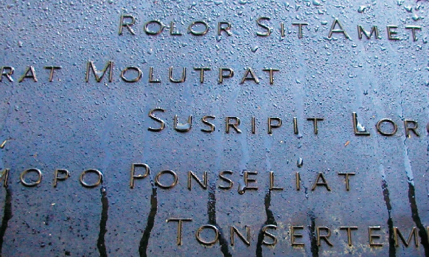 (2007) Our prototype rendered the names in a custom prismatic font on rustic, cast-bronze panels with hand-applied patina. This option for the Names Commemoration would have weathered over time, while highlighting human touch-points.