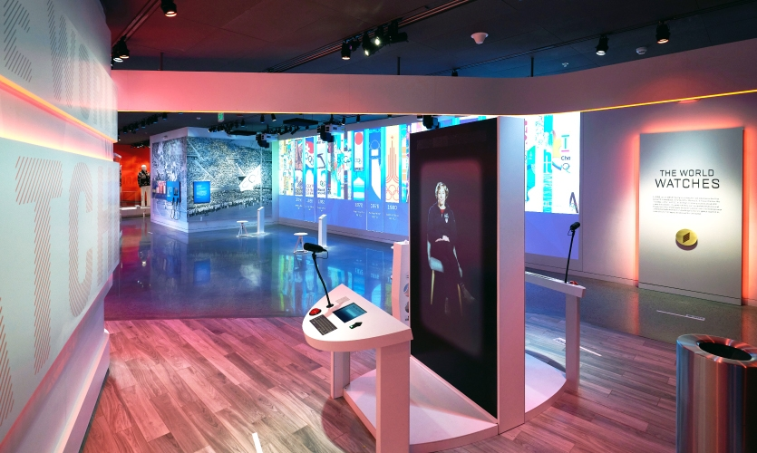 Visitors traveling through The World Watches, see Olympic-inspired pop culture, come face-to-face with virtual Olympic and Paralympic athletes, and learn how the Olympics are woven into the national and international events and politics.