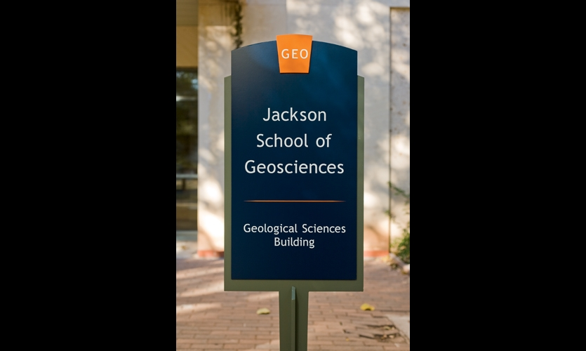 Cloud Gehshan created the signage color palette to complement UT's signature burnt orange.
