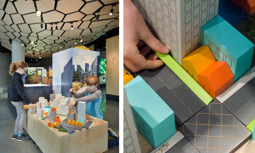 Visitors are invited to try their hand at urban planning, as a way of understanding Amazon's efforts to integrate into Seattle's downtown core.