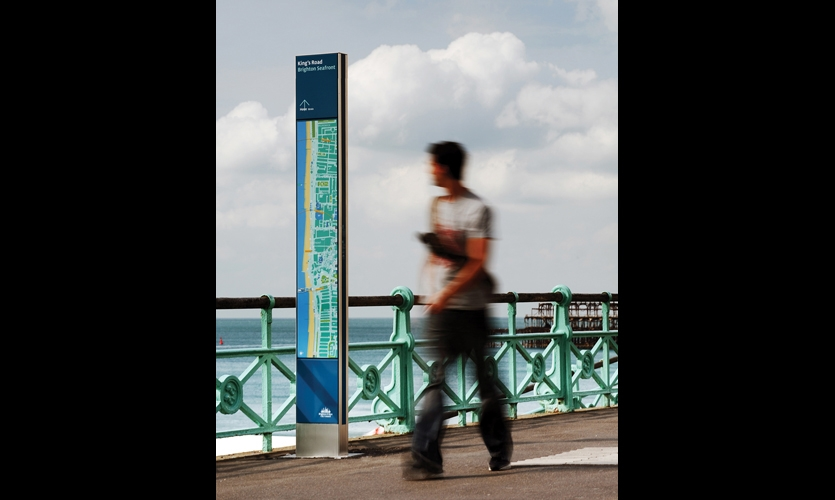 "Applied Information Group used a ""360-degree"" approach to its wayfinding system for the resort town of Brighton & Hove, providing signage, printed maps, downloadable maps, and an iPhone app. (Photos: © Philip Vile Photography)"