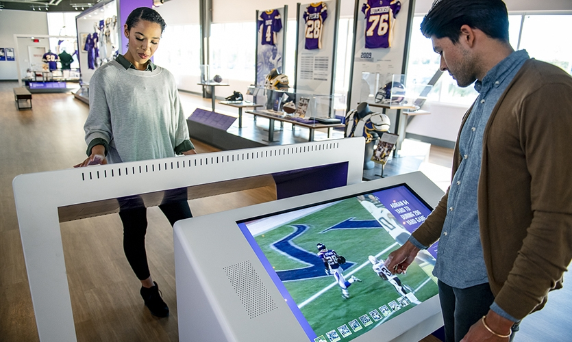 """Visitors experience the """"Greatest Plays Interactive""""as part of the innovative suite."""