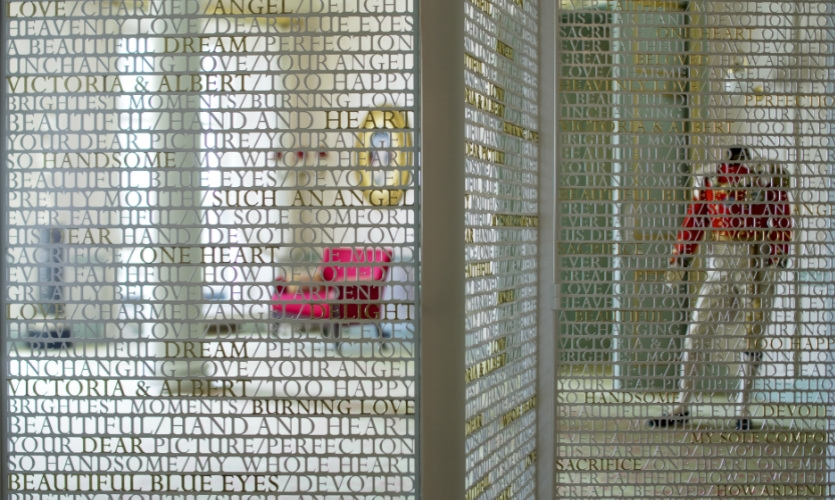 The Victoria Revealed exhibit tells the story of the beloved British monarch literally in her own words. The laser-cut screen is comprised of words from her love letters to Prince Albert.
