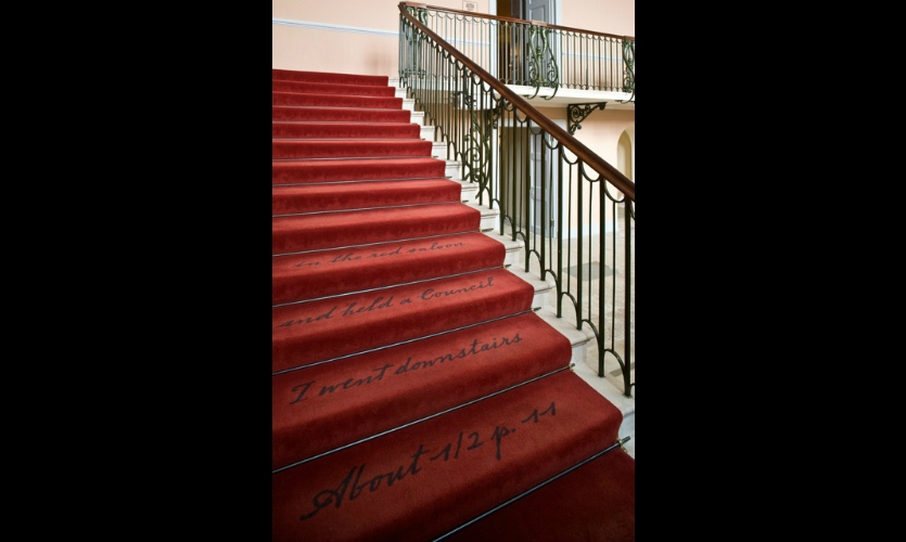 The words of Queen Victoria even appear on carpeting leading to the exhibition.