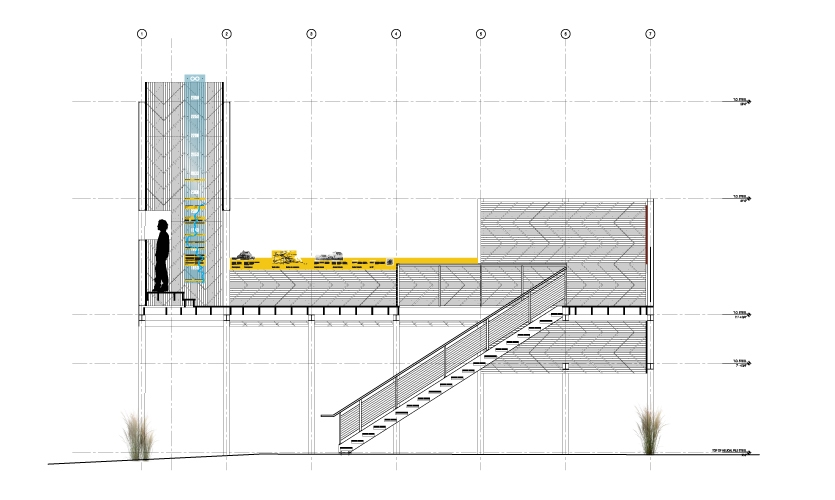 A drawing of the viewing tower which illustrates the scale and placement of exhibit signage.
