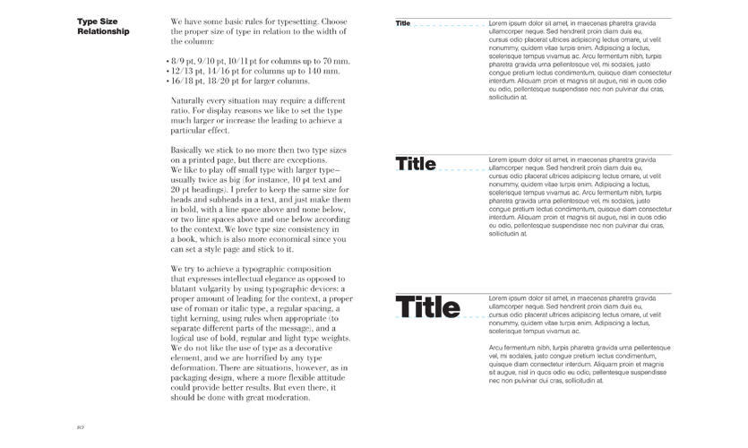 Type Size Relationships are ever-so-clearly demonstrated on pages 82 and 83