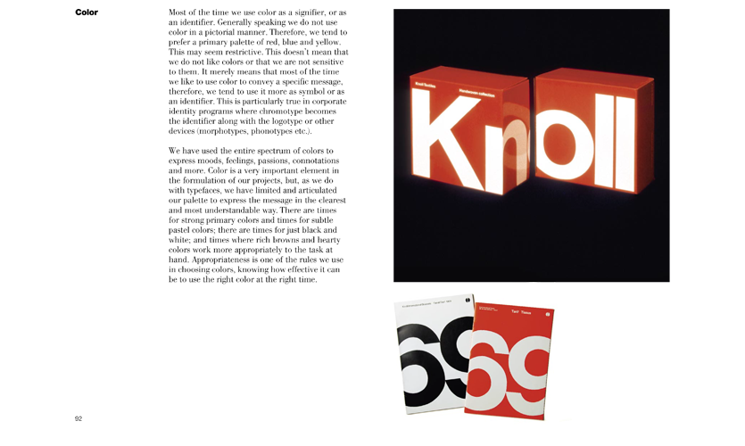 Color is discussed in terms of effectiveness on pages 92 and 93