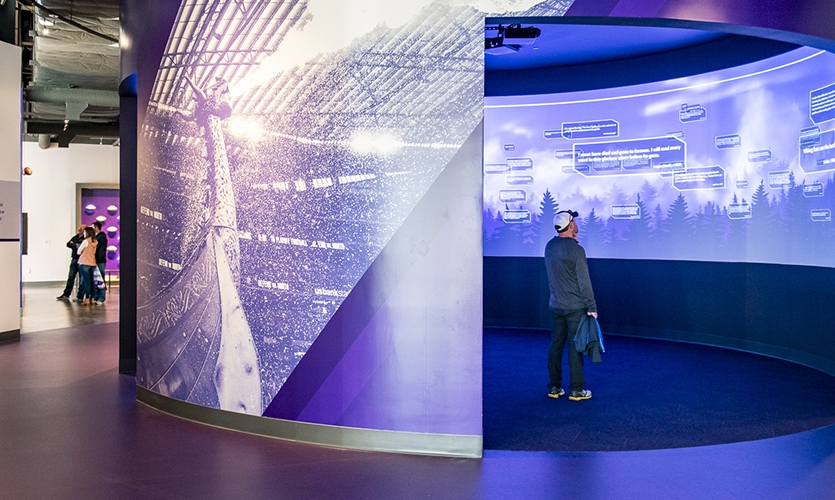 In the center of the exhibit space is a large 360-degree theater that also functions as an interactive—between showings of films In the center of the exhibit space is a large 360-degree theater that also functions as an interactive between showings.