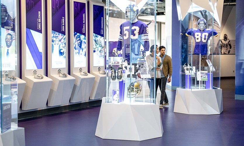 """The """"Frozen in Time Columns""""—a series of stunning faceted glass fixtures that evoke cascades of ice and display retired team jerseys—were a surprise Instagram favorite."""