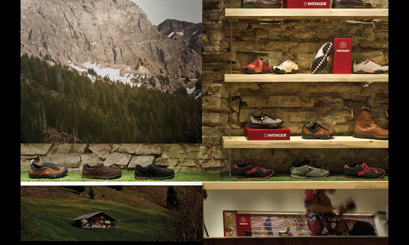 Contrasting with the  museum-like displays, vivid DHPL graphics (by iZone) provide a link to the outdoors and Wenger's brand attribute of rugged authencity.