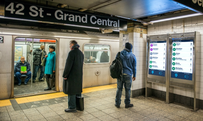 New York's MTA is installing wayfinding touchscreen kiosks on the subway platform—real-time wayfinding information at a crucial step in the passenger's journey.