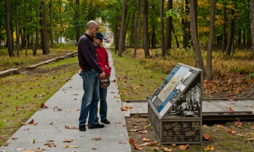 The kiosks feature historical photos and stories about the site's rich history.