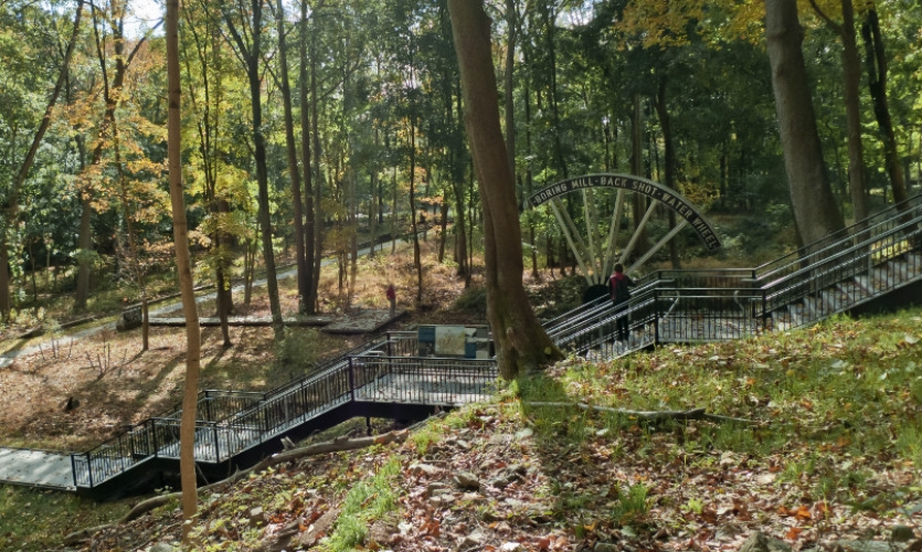 Overview of the staircase and replica water wheel