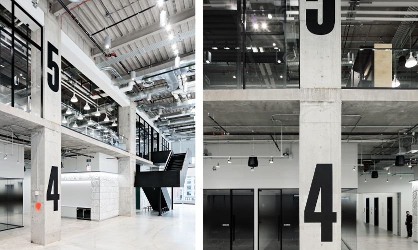 The aesthetic is minimalist and stripped-down, employing a palette of grays and concrete that provide the ideal setting for creative wayfinding solutions and multiple brand activations.