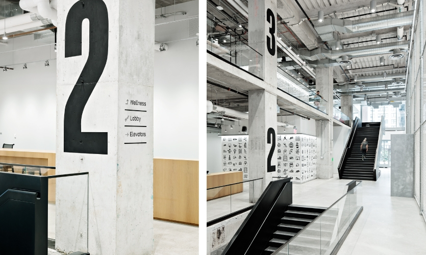 Wayfinding the Nike NY HQ office is easy: Big bold numbers proclaim destinations in Block Gothic.