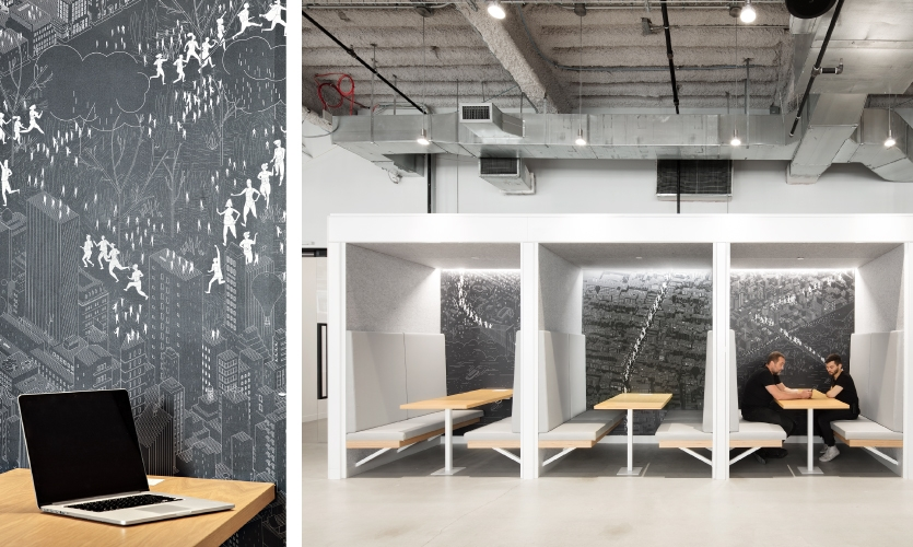 The New York City Marathon was the inspiration for commissioned murals printed on wallpaper substrate that line these communal seating areas.
