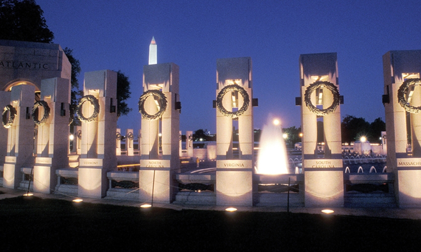 The National World War II Memorial features wreathed pillars representing each U.S. state and territory in 1945, with inscriptions U-carved into the solid granite in situ. (Photo: © Richard A. Latoff/Latoff.com)
