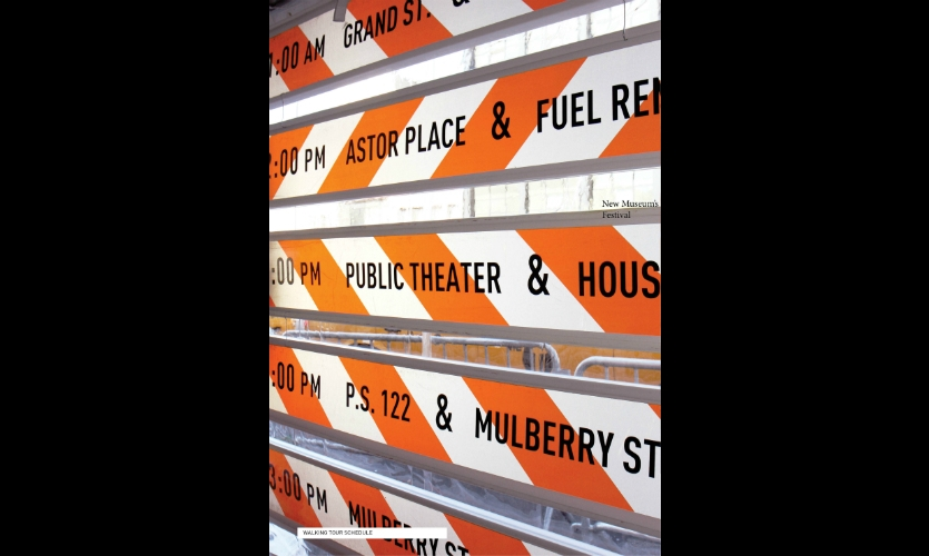 For the one-day event, the team focused the design around the iconic and the available: reflective orange-striped construction signage.