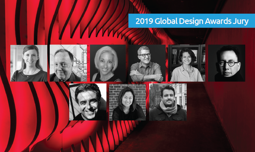2019 Global Design Awards Jurors, from left to right / top to bottom: Kathy Fry, Lance Wyman, Dardinelle Troen, Cameron Smith, Daisy Corso, Refik Anadol, Lee H. Skolnick, Cynthia Damar-Schnobb, Joe Donovan
