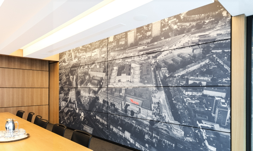 Each wall system consists of panels that can be retracted into the ceiling to create one massive space.