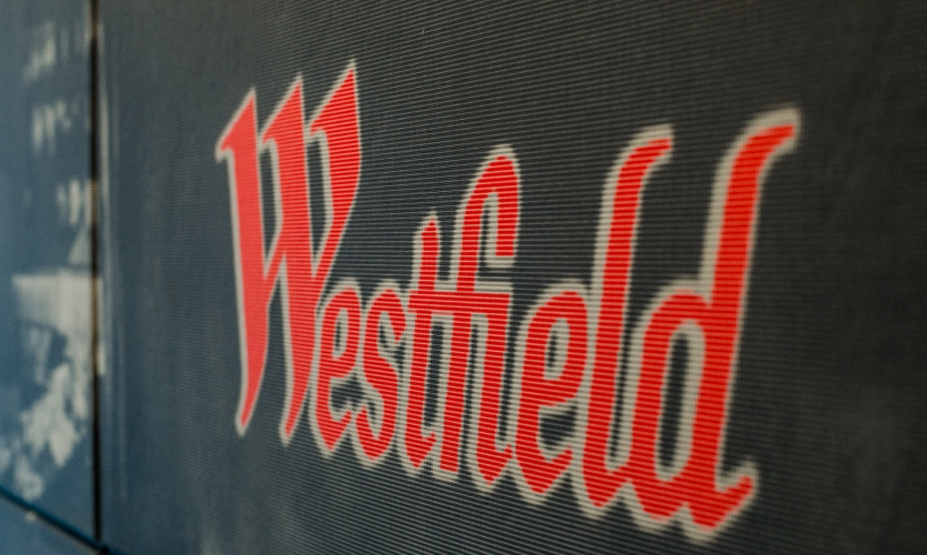 Each image was converted to black and white and carefully screened with a dot matrix—with the exception of the red Westfield logo.
