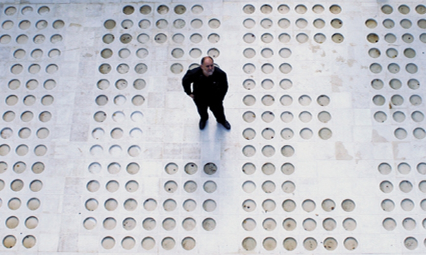 """Anton Rašić and his colleagues at Studio Rašić created the 13th installation of the White Road. Waiting for the Rain is comprised of 1,245 square tiles of polished limestone, together spelling """"White Road."""""""