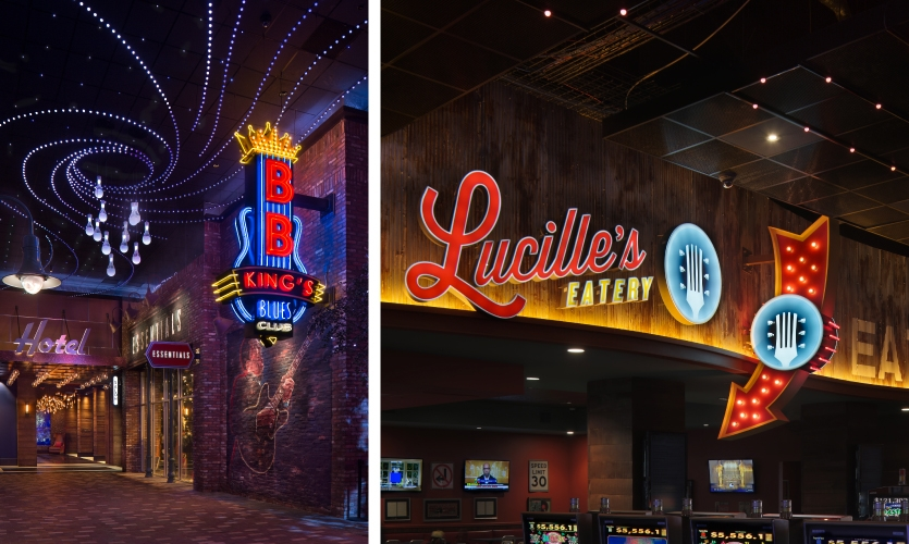 Thematic signage and facade of the Wind Creek Casino, B.B. King Club (Montgomery, Ala.)