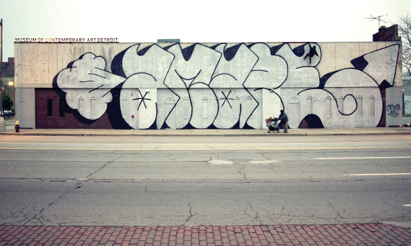 Barry McGee's smoke-blowing graffiti covers the facade of the Museum of Contemporary Art Detroit. (Photo: Barry Holm)