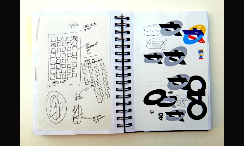 My first sketches for the SEGD 40th anniversary logo explored the ideas of forward motion and being at a crossroads.