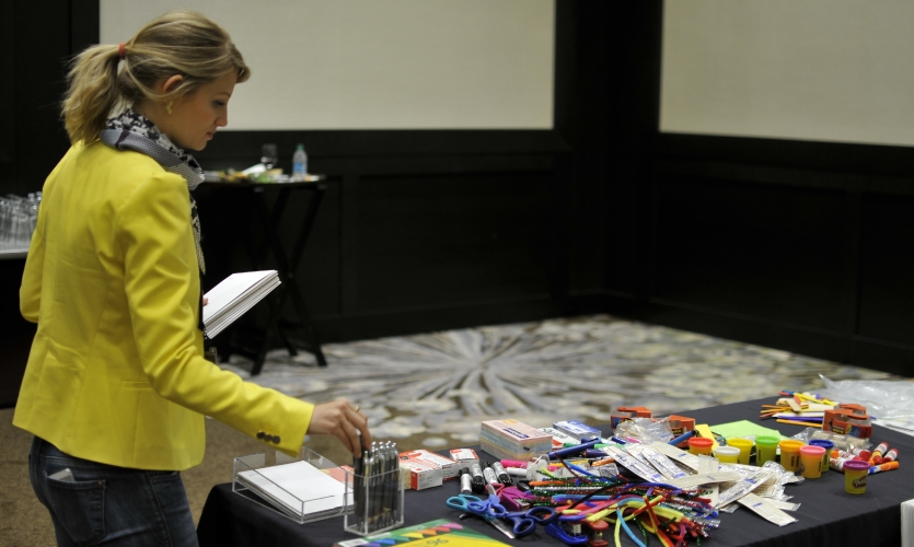 Chapter Chair Daniela Pilossof readies the supplies for Design Improv!